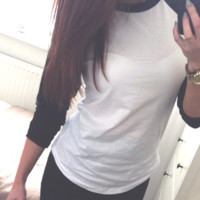 Black and White Baseball Tee from Now and Again Co.