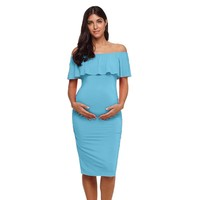 Ruffles Shoulderless Maternity Dresses Clothes Off Shoulder Pregnancy Dress Bodycon Ruffle Women Ruched Sides Pregnant Vestido