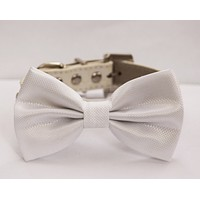 White Wedding Dog Bow Tie - White Wedding Dog Collar- Cute Dog Bow tie, with high quality leather collar