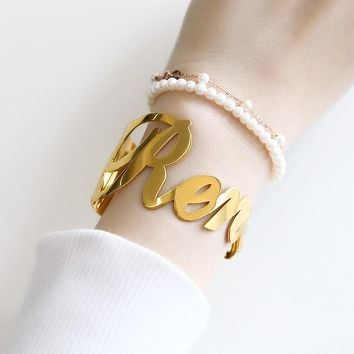 Customized Name Bracelets for Women Stainless Steel Gold Silver Color Bracelet Personalized Charm Bangle Valentine Jewelry Gift