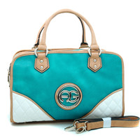 Women's Multicolored Logo Satchel w/ Studded Accents - Turquoise/Tan/White Color: Turquoise/Tan/White