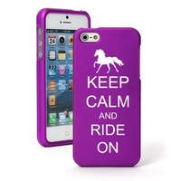 Apple iPhone 5 5S Purple Rubber Hard Case Snap on 2 piece Keep Calm and Ride On Horse