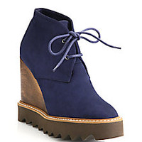 Stella McCartney - Lace-Up Wooden Wedge Booties - Saks Fifth Avenue Mobile