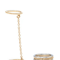 FOREVER 21 Classic Band Ring Set Black/Gold
