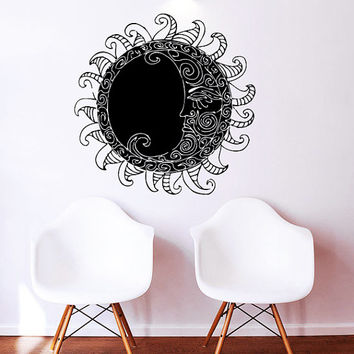Wall Decal Moon Vinyl Sticker Decals Art Home Decor Design Mural Sun Moon Crescent Ethnic Stars Night Symbol Sunshine Fashion Bedroom AN692