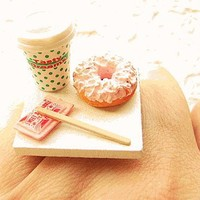 Strawberry Doughnut and Coffee Take Out Miniature Food Ring