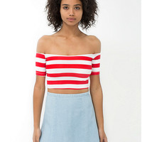 Print Cotton Spandex Off-Shoulder Top | American Apparel