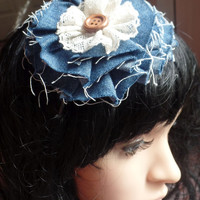DENIM HEADBAND, chambray, rustic, floral, womens, kids, country, flower headband ivory blue, lace any size baby