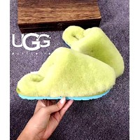 UGG Fashion Women Men Fur Couple Flats Sandals Slippers Shoes