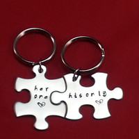 Valentine's Day Gift - His and Her Puzzle Piece Keychain Set - Couples,Wedding, Anniversary Keychain