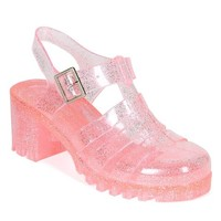 Nature Breeze CK93 Women Glitter Jelly Round Toe Strappy Caged Gladiator Chunky Heel Sandal - Pink (Size: 8.5)