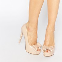 Little Mistress Bette Bow Peep Toe Platform Heeled Shoes