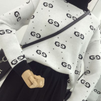 Gucci Trending Casual Women Long Sleeve High Neck Double G Pullover Sweater White G