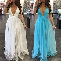 Women Summer BOHO Dress Sleeveless Backless Maxi Long Evening Party Dress Beach Dress Sundress White Blue
