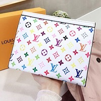 Louis Vuitton LV New Men Women Leather Multicolor Handbag Tote Wash Gargle Bag Wallet