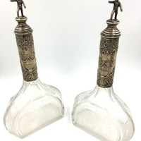Antique Hanau German 800 Silver Acid Etched Glass Decanter set of 2