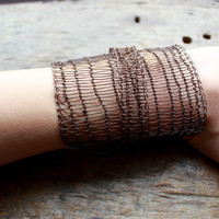 THE FACTORY GIRL Statement Wide Bracelet Industrial Chic Copper Wire Crocheted Wide Cuff. Made to order!