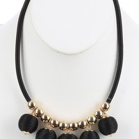Black Color Cord Wrapped Chunky Ball Fringe Bib Necklace