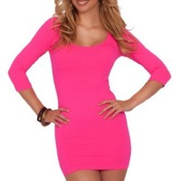 Womens Spandex Fitted 3/4 Sleeve Scoop Neck Bodycone Evening Club Mini Dress