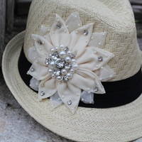 Lace and Bling flower fedora - The Lace Cactus