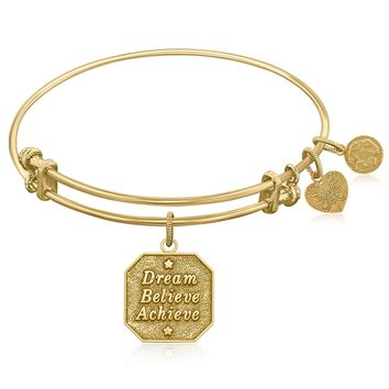 Expandable Bangle in Yellow Tone Brass with Dream Believe Achieve Symbol