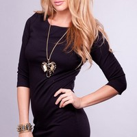 Little Black Dress with 3/4 Length Sleeves