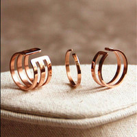 Women Set rings Hollow out Stainless Steel