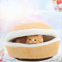 Household Pet Doggy&cat Hamburger Shape Sleeping Bed Nest Warm Soft Cushion Bed House (Color: Beige) = 1930063428