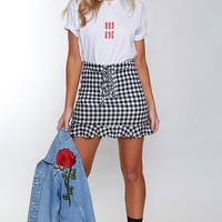 Merry-go-round Laced Skirt Gingham