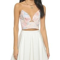 Seer Marble Plunge Bodice Top