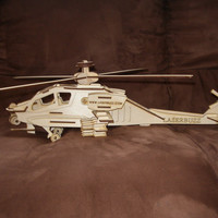 Large 3D wood Apache helicopter puzzle kit