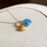 Cute Gold Charm Cluster Necklace with a Blue Chalcedony Charm, Freshwater Pearl and Tiny Clam Shell, 14k Gold Filled Chain, Dainty Charms