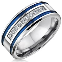 Mens Stainless Steel CZ Blue Stripe Ring