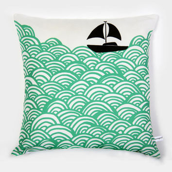 Bigger Boat throw pillow  turquoise green by mengseldesign on Etsy