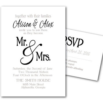 Printable Wedding Invitation Template and RSVP Card - Printable File - DIY invites - Mr & Mrs