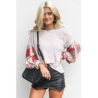 Hold My Hand Gray Thermal Top with Gypsy Sleeves