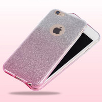 Hot! Diamond Flash Glitter Ultra-thin Soft Phone cases for iphone 6 6s 6plus 6s plus with Gradient Color Design Matte cover