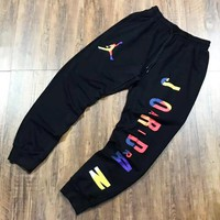 Jordan New fashion multicolor letter people couple pants Black