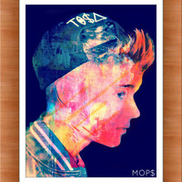 """YOUTUBE PRODUCT (Justin Bieber) 8x10"""" Digital Illustration High Gloss Print by MOPS"""