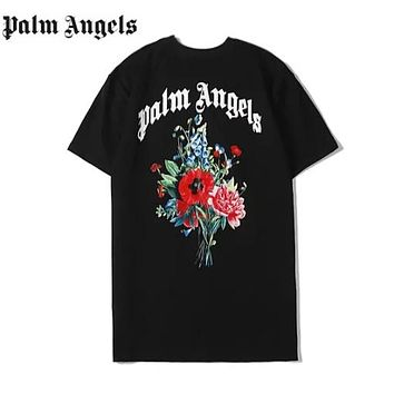 Palm Angels New fashion letter floral print couple top t-shirt Black