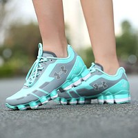 Under Armour UA Scorpio Women Running Shoes Gray Mint Green White