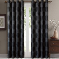 Black Leington Pair (Two Panels ) Jacquard Grommet Window Curtain Panels