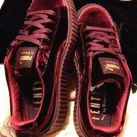 Tagre PUMA Women Casual Running Sport Shoes Sneakers Wine red