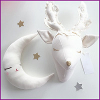 3d sheep/deer wall decorations animals head toys kids bedroom wall hangings artwork baby gifts stuffed toys white reindeer head