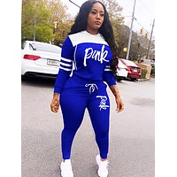Victoria Pink New fashion letter print hooded long sleeve top and pants two piece suit women Blue
