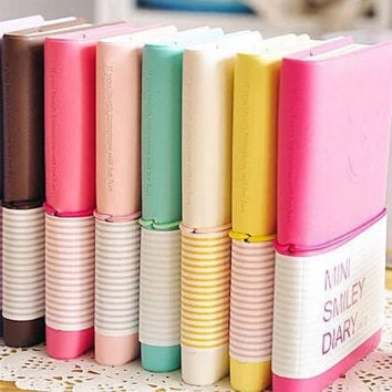 Candy Colors Fashion Cute Charming Mini Smiley Paper Diary Notebook Memo Book leather Note Pads Stationery Pocketbook