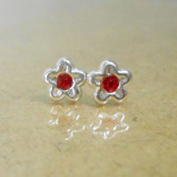 Tiny Flower Red Cubic Zirconia Carpel Silver Post Stud Earring - 92.5 Sterling Silver Earrings - Gift under 5