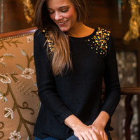 Cascading Sequins Sweater, Black