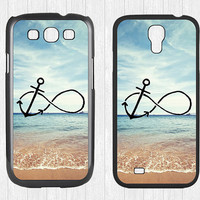 Infinity Anchor Samsung Galaxy S3 S4 Case,Refuse to Sink Blue Ocean Beach Galaxy S3 S4 Hard Case,cover skin Case for Galaxy S3 S4,More