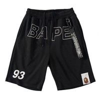 BAPE AAPE Newest Fashionable Men Casual Print Sports Running Beach Shorts Black